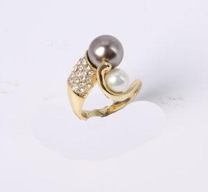 Мода украшения кольцо с золотым покрытием стекло Pearl