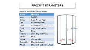 새로운 2018 최신 판매 크롬 또는 백색 까만 알루미늄 6mm 미닫이 문 쿼드 샤워실 (6Y1008) 800*800*1850mm