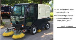 Suntae Varrição estrada carro vassoura elétrica RS01 disponível a função de spray de alta pressão