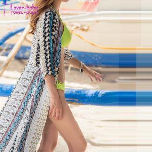 Imprimé en mousseline robe de plage à manchon long L384941