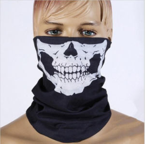Halloween 무서운 가면 축제 두개골은 해골 옥외 기관자전차 자전거 다중 가면 스카프 절반 가면을 복면한다