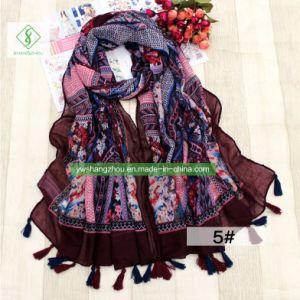 各国用ふさが付いている様式によって印刷されるビスコーススカーフの方法女性のショール