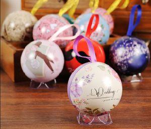 Lindo colorido pequeña caja metálica, Party&decorativos Festival Happy Ball Juego de cajas de regalo ronda tin box