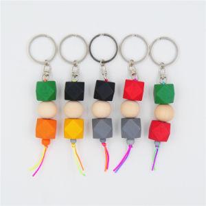 Il legno borda la catena chiave con il pendente di legno di fascino della geometria per il regalo di Keychain delle donne del supporto dell'anello chiave della borsa