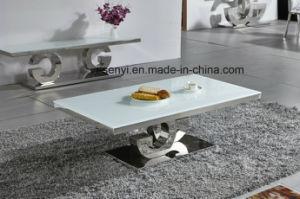 居間の家具の緩和されたガラスの上のステンレス鋼のコーヒーテーブル