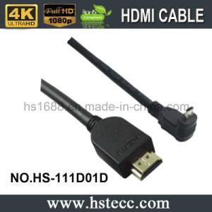 HDMI M/M는 PE 부대를 가진 90 도 케이블을 떨어뜨린다