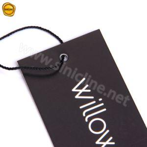 Sinicline 의류를 위한 나일론 끈을%s 가진 까만 인쇄 걸림새 꼬리표