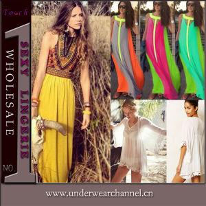 Usine OEM Fashion femmes coloré Maxi robe longue de plage (TONY6081)