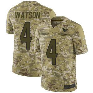2018 Camo салют для обслуживания Джерси-Тексанс футболках Nikeid 4 Deshaun Уотсон