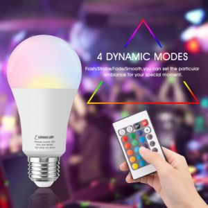 A19 E27 B22 LED Farbe, die Glühlampe mit Fernsteuerungs-RGBW 10W Dimmable LED Birnen für Hauptdekoration-Partei ändert