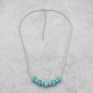Vervanging van de Juwelen van de manier de Blauwe Opalen met de Zilveren Ronde Vlakke Halsband van de Ketting van het Graan van Parels