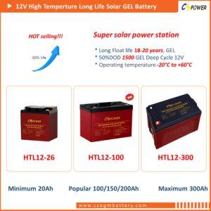 De navulbare ZonneBatterij 12V250ah van het Gel voor Gebruik het Op hoge temperatuur van de Macht