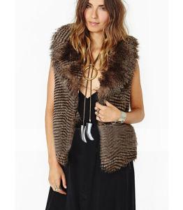 Les femmes sans manches Gilet imitation fourrure Fashion Design manteau chaud