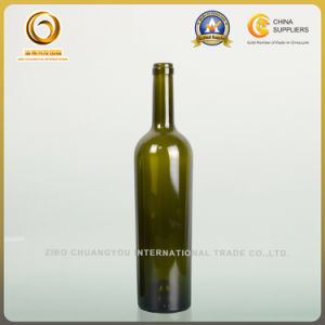 750ml botella de vino de cristal verde con corcho (001)