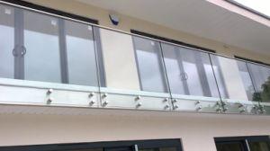 De Balustrade van het Glas van Frameless met de Leuning van het Roestvrij staal