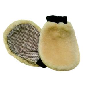 羊皮の暖かいウールの磨く手袋
