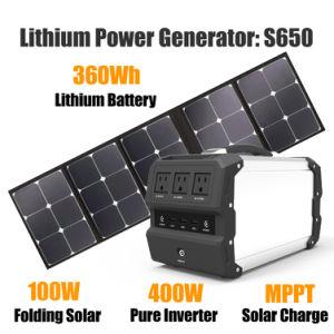 Generatori solari del sistema domestico di energia solare con le batterie dello Litio-Ione