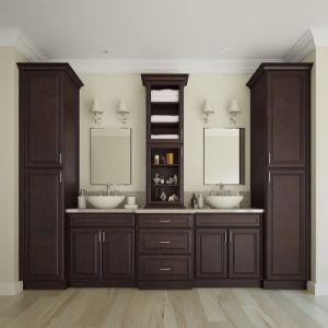 Carrara permanente Espresso moderno cuarto de baño armarios de ...
