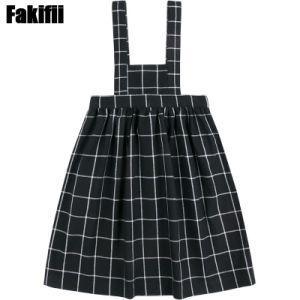 Au printemps de 2021 Fille Vêtements Enfants Plaid noir robe jarretelle
