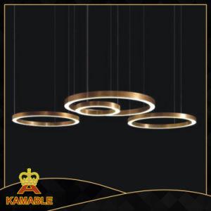 Anel de Aço Inoxidável moderno pendente de LED personalizados Lâmpada (KAF6050)