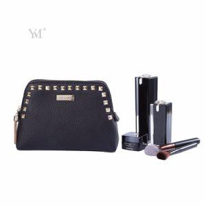 L'usine OEM Rivet Cool noir en cuir pour dames de sac de maquillage