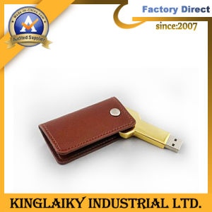 Рекламных подарков металлические USB с натуральной кожи с логотипом печать (КУ-002)