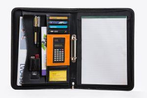 Dispositivo di piegatura di archivio su ordinazione di presentazione del cuoio del documento di congresso del regalo A4 A5