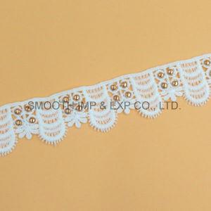 Tessuto solubile in acqua bianco degli accessori per il vestiario dell'occhiello del merletto del ricamo di modo