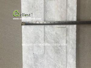 Nature de quartzite blanc de pierre de la culture de panneaux muraux empilés