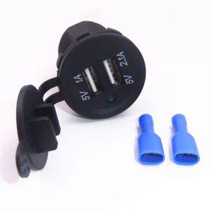 Resistente al agua de 5V DC 12-24V 3.1A USB Cargador adaptador de alimentación dual con luz indicadora LED para Alquiler de Barco Marino moto