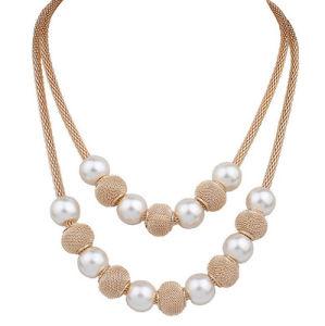 Juwelen van de Verklaring van het Kostuum van de Vrouwen van de Halsband van de Parel van de Nauwsluitende halsketting van de Kleur van de manier de Gouden Multilayer