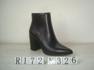 La mode en cuir noir pour les femmes Bootie