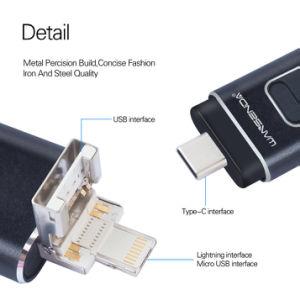4 in 1 OTG Feder-Laufwerk-Metall-USB-Blitz-Laufwerk für IOS/Android/Tablette PC/Type C Mikro-USB Stock-Blitz Drive16GB 32GB 64GB