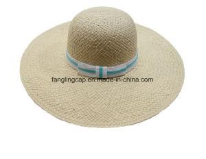 Señoras la moda de disquete sombrero de paja con la banda de Gg