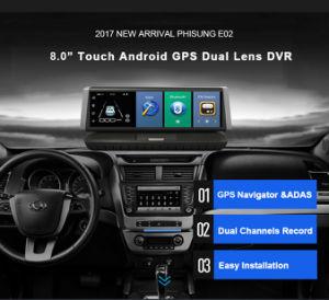 E02 8Touch 4G GPS WiFi Android Full HD 1080P Gravador de vídeo de lente dupla Dash Cam ROM 16GB adas