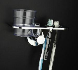 Banheiro ventosas titular titular Toothcup escova com 2 chávenas