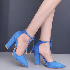 Les femmes a fait bloc Toe Chunky Hight talons à lacets de chaussures de confort