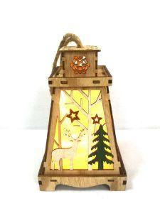 LED avec Découpe laser Deer lanterne en bois Décoration Pattern
