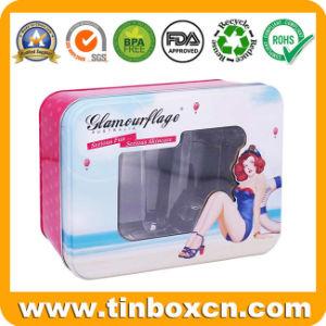 Rectángulo hermoso de lujo en caja metálica Don Tin caso cosméticos con ventana transparente la parte superior y se inserta