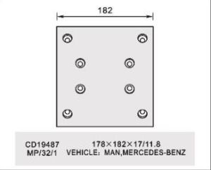 Benz、Man (WVAのためのブレーキLining: 19487 BFMC: MP/32/1)