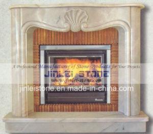 部屋のための自然な石造りの旧式で白い大理石の暖炉のマントルピース