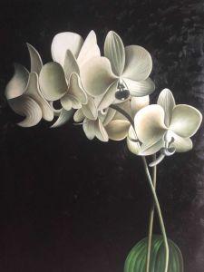 Le pitture a olio Handmade del fiore dell'orchidea hanno allungato l'arte floreale della tela di canapa