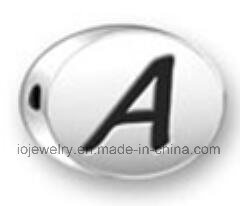 De in het groot Zilveren Parels van de Brief van het Alfabet van Juwelen Ovale