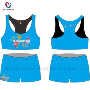 주문 아이를 위한 Cheerleading 제복이 운동복에 의하여 승화된 스포츠 브래지어에 의하여 누전한다
