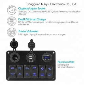 6명의 갱 로커 스위치 위원회 이중 USB 충전기 전압계
