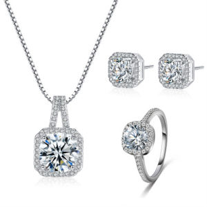 Hot Sale argent CZ Necklace Earrings Ring Set femmes bijoux de mode de mariage