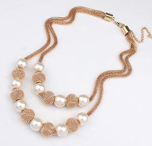 Мода золотого цвета многоуровневые Чокера Pearl цепочка женщин костюм заявление Ювелирные изделия
