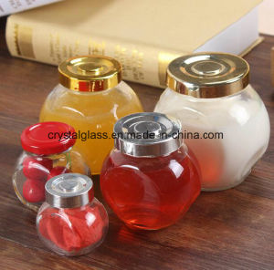 Flacher runder Glasnahrungsmittelgewürz-Glas-Küche-Gebrauch