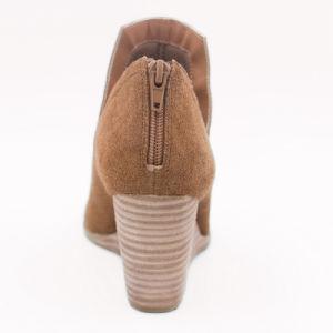 Les femmes Peep-Toe sandales de filtre en coin en daim avec fermeture à glissière