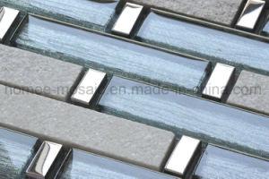 スライバは台所壁のためのワイヤークリスタルグラスの組合せの石のモザイク・タイルを電気めっきする